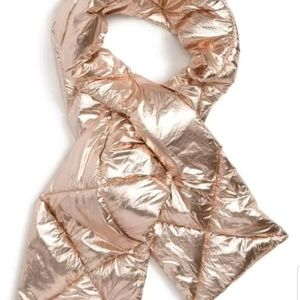 Leith Metallic Rose Gold Foil Puffer Scarf